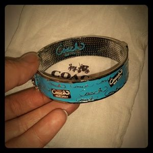 Beautiful COACH  Blue enamel Cuff Bracelet/Silver